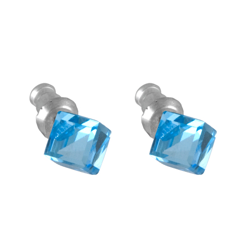 Náušnice se Swarovski Elements kostka Aqua 6 mm