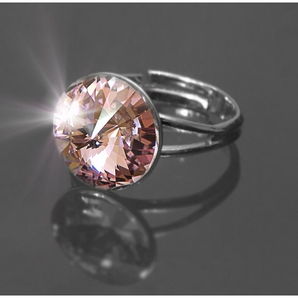 Prsten Rivoli se Swarovski Elements Light Rose 12 mm
