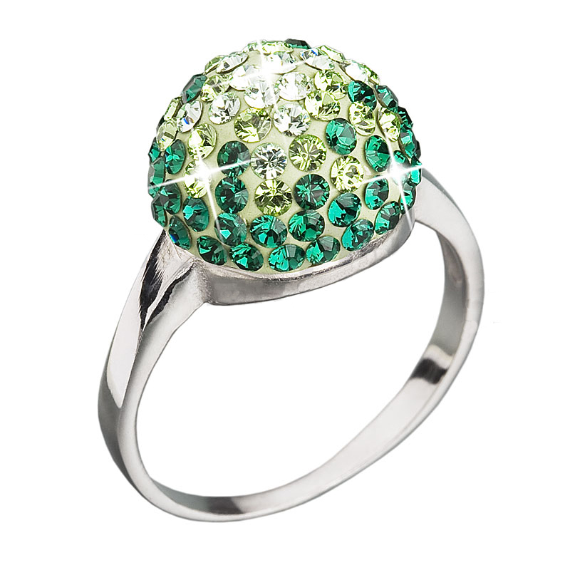 Prsten se Swarovski Elements kulička 35013.3 Emerald 12 mm